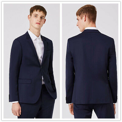 Navy Slim Fit Wedding Tuxedos Groom Groomsmen Man Suits Formal Dinner Party Suit
