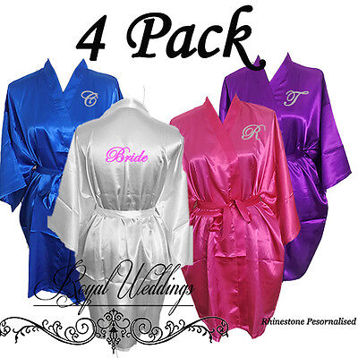 Bridesmaid Robes Personalised Robes Bride Robes Satin Robes Wedding Gifts 4 Pack