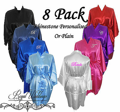 Bridesmaid Robes Personalised Bride Gown Satin Robes Wedding Robes 8 Pack