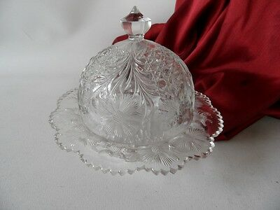 Antique Eapg American Pressed Glass Cosmos & Cane Pattern Lidded Butter Dish