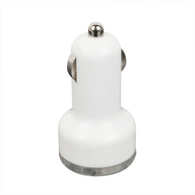 Usb 2 Port Car Charger Adaptor White Blackberry Cell Phone Bullet Great Popular