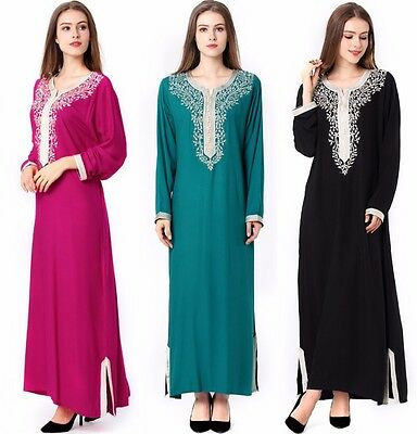 Moroccan Style Embroidey Dress Robe Muslim Women Maxi Abaya Islamic Jalabiya