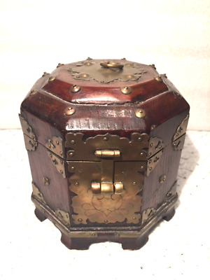Beautiful Old Antique Asian Octagon Shape 8 Sided Wood Box- NICE - # 55