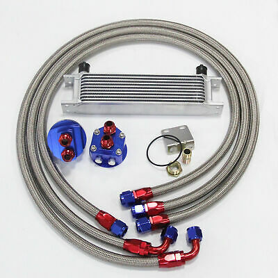 10Row AN10 Universal Oil Cooler + M20x1.5 Filter Relocation Adapter Hose Kit SL