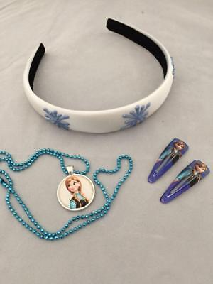 Girls accessories Frozen theme icicle headband Anna necklace & clips gift