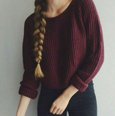 Winter Women Long Sleeve Warm Knitted Pullover Loose Sweater Jumper Top USA