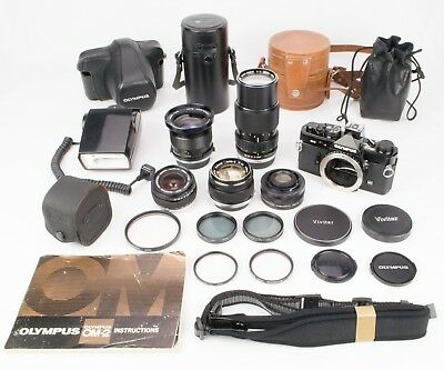 Nice! - Olympus Om-2 Camera 35Mm Slr Camera Outfit W/ Multiple Lenses, Filters