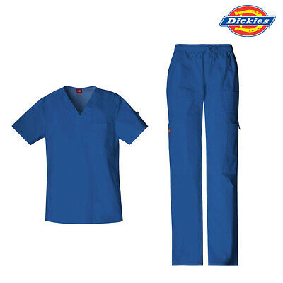 DICKIES MENS STRETCH SCRUB SET - Top & Pants Nurse Medical Surgical Vet Uniform