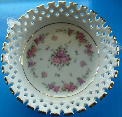 "Fine China Decorative Plate, 6"" diameter with clear  display stand."