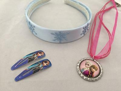 Girls items Frozen theme icicle headband Anna & Elsa ribbon necklace clips gift