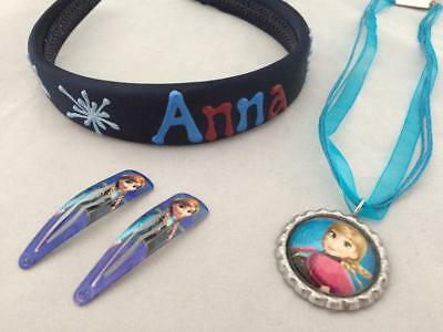 Girl's items Frozen theme Anna icicle headband Anna ribbon necklace clips gift