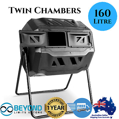 Compost Tumbler Dual Twin 160L Bin Twin Chamber Aerated Roto Composter