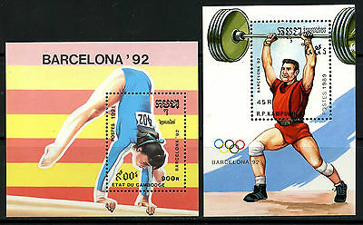Cambodge Y Kampuchea, 2 Hojas Bloque, The Olympic - Barcelona 1992