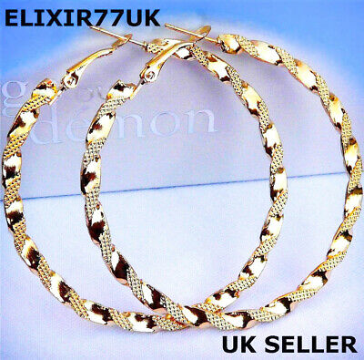 New Large Stunning Gold Plated Hoop Earrings White Big Circle Creole Chic Hoops