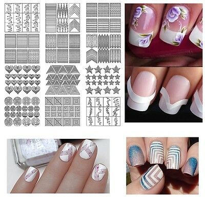 12PCS Beauty Manicure Nail Art Tips Form Fringe Guides Sticker DIY Stencil Gift