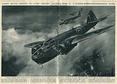 1941 Art Print Bristol Blenheim Mk IV Fighter Bomber Reconnaissance Airplane