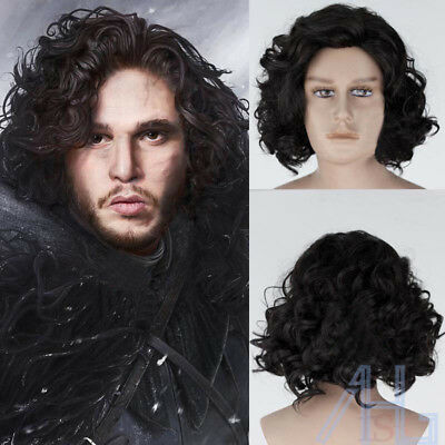 UK Synthetic Cosplay Anime Game of Thrones Jon Snow Short Black Curly Wigs