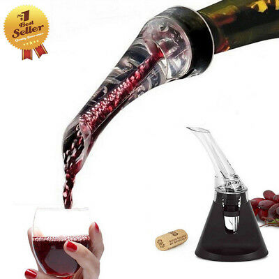 1x White Red Wine Aerator Pour Spout Bottle Stopper Decanter Pourer Aerating NEW
