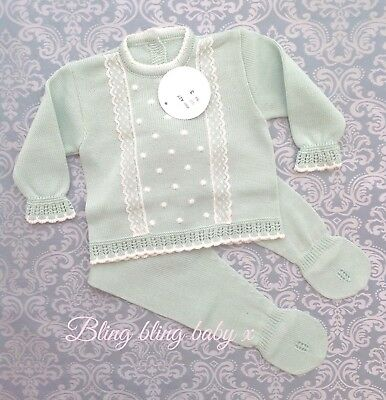 Baby Spanish Unisex Knitted Lace 2 Piece Set Outfit Romper Babygrow 0-3 Months
