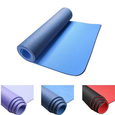 6mm Thick TPE Yoga Exercise Mat Non-slip Eco Friendly Gym Pilates Fitness Pad