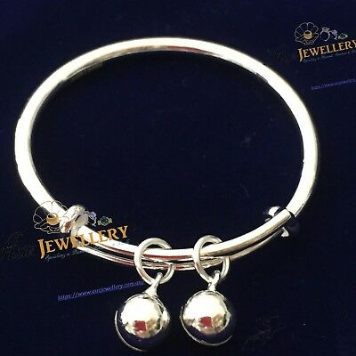 Guarantee 100% Genuine Pure 925 Silver Adjustable Infant Baby Bangle Bracelet