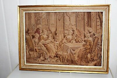 Antique Framed French Gobelin Tapestry Victorian Picture Vintage