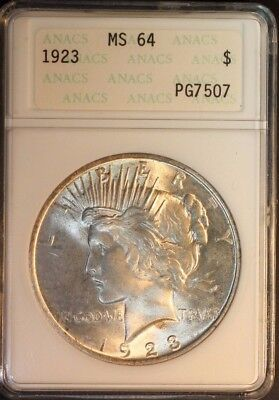 1923 P Peace Silver Dollar ANACS MS64 Old Holder