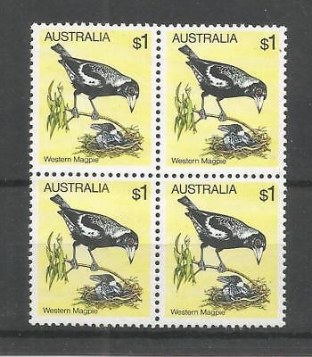 Australia 1980 Birds High Value $1 Block Of 4 Sg,740 U/mm Nh Lot 4980A
