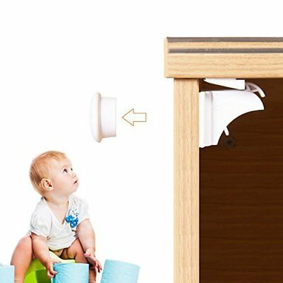 Magnetic Child Safety Cabinet Locks (6 Locks + 2 Keys) with 3M Adhesive for