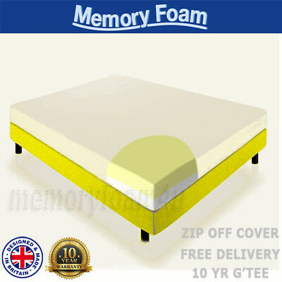 Memory Foam Mattress Single Double King 4Ft6 5Ft Bed Size Matress + Soft Cover