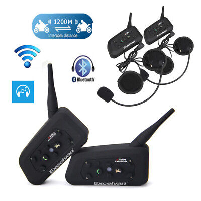 2X Motorcycle Interphone Helmet Headset Bluetooth Communicator for 6 Rider 1200M