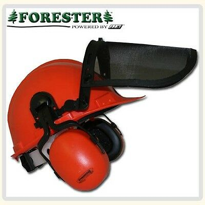 Chain Safety Helmet by Forester, with Face Shield, 21 DB Ear Muffs,Free Shipping
