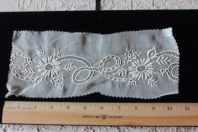 Antique 19thC French/Swiss Hand Embroidered & Lace Florals On Linen Sample c1880