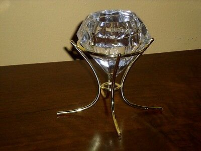 """Partylite Diamond """"Solitaire"""" 24% Lead Crystal Tealight or Votive Candleholder"""