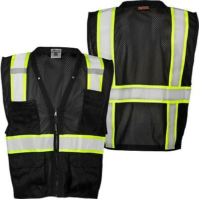 ML KISHIGO B100 Safety Vest, Black with lime yellow and silver reflective L-XL