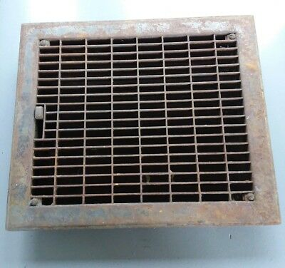 vtg large rusty metal heat grate archtictural steampunk floor house vent cover