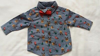 F&F Boys Smart Shirt With Bow Tie Blue/Grey Christmas 0/3 9/12 12/18  NEW