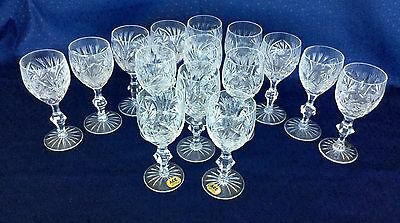 15 Crystal Set of 2 brand new + 12 13 wine Aperitif Cordial Mouth Blown Hand Cut