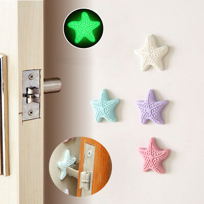 StarfishGlow In The Dark Door Handle Stopper Self Adhesive TPR Wall Protector