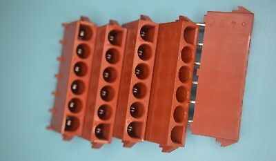 AMP CONNECTOR PCB 6 WAY KEYED BROWN PIN PITCH 6mm PACK OF 5