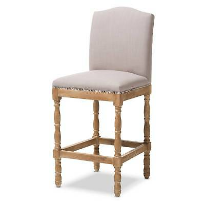 Paige French Vintage Cottage Weathered Oak Finish Wood and Fabric Upholstered...