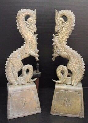 Vintage Pair of Gilt Bronze / Brass Chinese Asian Dragon Fireplace Andirons ~12""