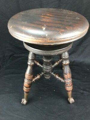 Antique Wood Clawfoot & Glass Ball Piano Stool CHAS PARKER COMPANY, MERIDEN CT