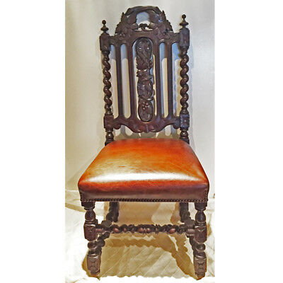 1880 Hand Carved Victorian Gothic Revival Side Chair