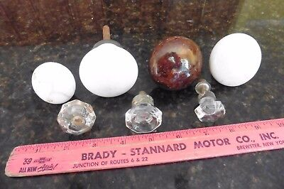 Lot of 7 knobs Door pull handles white & brown porcelain crystal Vintage salvage