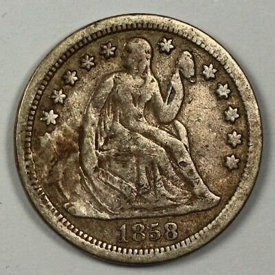 1858 P Seated Liberty Silver Dime 10c