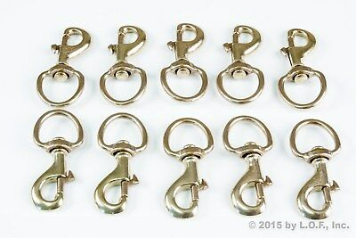 10 Round Eye Swivel Bolt Snap Brass Finish 1 Inch Key Ring Leash Flag Hook Clip