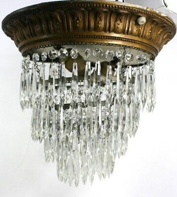 Antique Glass Crystal Chandelier - Ceiling Mounted - Wedding Cake - 127 Crystals