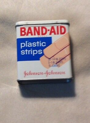 Vintage Band-Aid Plastic Strips in Metal Box