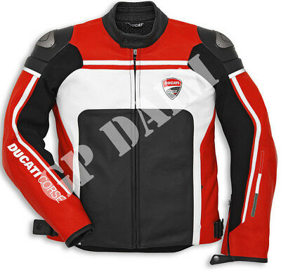 Ducati Corse Motorbike Leather moto GP Racing Jacket All Sizes bikers
